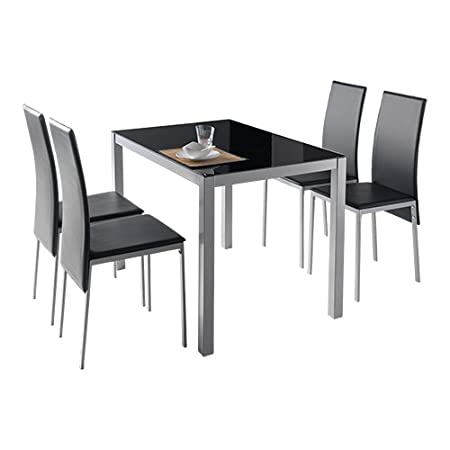 Conjunto de comedor o cocina 4 sillas tapizadas negro Lyon mesa negro 110x75