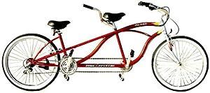 "J Bikes by Micargi Island 26"" 18-Speed 2-Seater Tandem Bicycle Beach Cruiser Bike - Red"