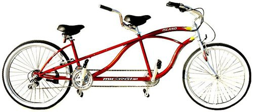 Buy Cheap J Bikes by Micargi Island 26 18-Speed 2-Seater Tandem Bicycle Beach Cruiser Bike - Red