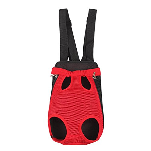 Creazy® Dog Cat Nylon Pet Puppy Carrier Backpack Front Tote Carrier Net Bag (Red, S)