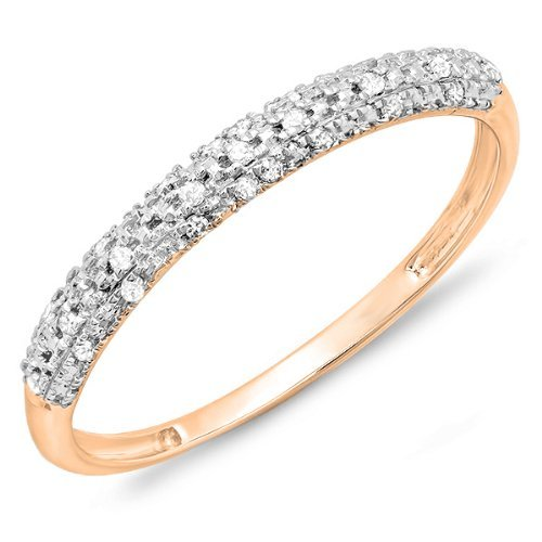 0.10 Carat (ctw) 10k Rose Gold Round Diamond Ladies Anniversary Wedding Band Stackable Ring 1/10 CT (Size 5.5)
