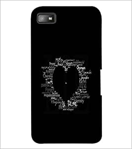 PrintDhaba Typographic Heart D-2335 Back Case Cover for BLACKBERRY Z10 (Multi-Coloured)