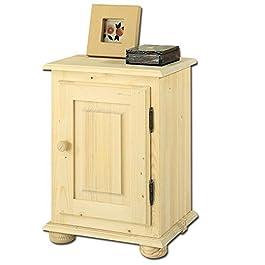 Comodino country in legno massello grezzo in abete 40x33x56 cm da camera