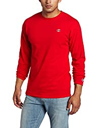 Champion Men's Jersey Long Sleeve Tee, Crimson, Medium