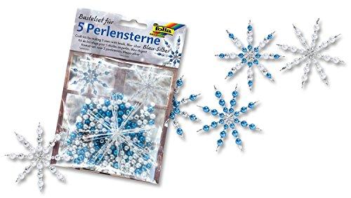 Folia 12530 - Bastelset Für 5 Perlensterne, blau/Silber/Perlweiß von Folia