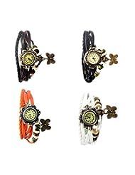 Felizo Combo Offer Pack Of 4 Multi Strap Fancy Butterfly Bracelet Vintage Watch (Brown, Black, Orange & White)