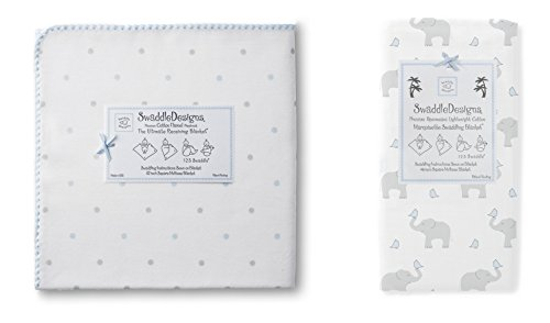 Swaddle Designs Ultimate Flannel & Marquisette Swaddle Baby Blankets, Little Dots Elephant Blue