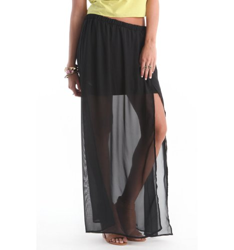 Nollie Womens Chiffon Slit Maxi Skirt