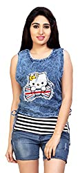 Carrel Brand Imported Denim Fabric Stylish sleevless Top with Kitty Printed Light Blue Colour Women L Size.