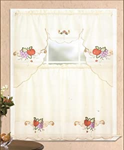 fruit strawberry grapes kitchen curtain set with valance embroidered 0073 home. Black Bedroom Furniture Sets. Home Design Ideas