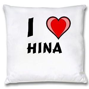 White Cushion Cover with I Love Hina (first name/surname/nickname