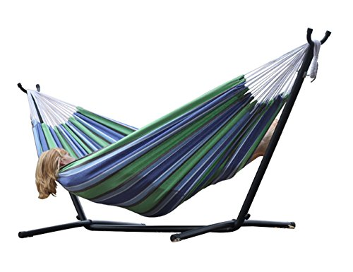 Brazilian Style Double 100% Cotton Hammock with 9 Feet Space-Saving Steel Stand and BONUS Free Carrying Case