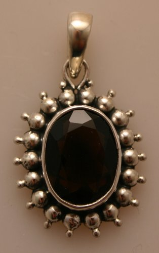 Silver Pendent with Smokey Stone