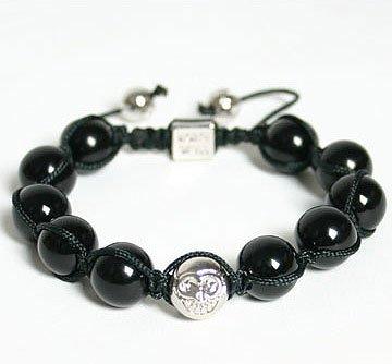 NorthSkull Men's Black Onyx Shamballa Bracelet