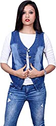Style Souk Women's Regular Fit Jacket (Skj001, Blue, Large)