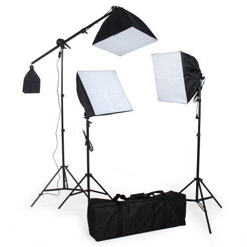 TecTake Continuo Kit illuminazione Boom Softbox Set con custodia per il trasporto 5500K (3 x lampada)