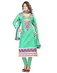 Splendid Rich embroidery work Designer Cotton traditional look Turquoise Un Stitch Branded Salwar Suit Dress Material for women From Lookslady