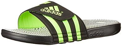 adidas Performance Men's Adissage Slide Sandal, Core Black/Neon Green/Metallic Silver, 10 M US