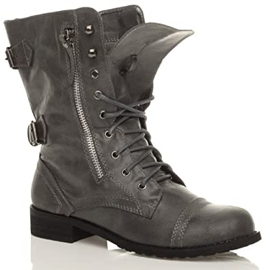 Military brogue combat army lace up zip ankle boots size amazon
