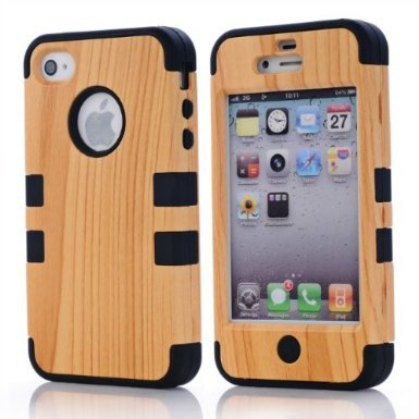 SHHR Hard Wood+Silicone Design Hybrid case for Apple iPhone4 4s 4G-Black Color (Wood Iphone 4 Case compare prices)
