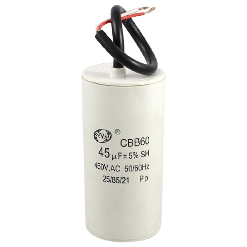 White Plastic Shell 45Uf 50/60Hz 450Vac Cbb60 Motor Start Run Capacitor front-163826