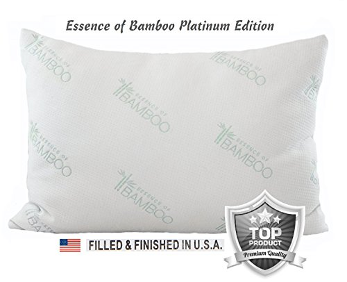 Essence of Bamboo Pillow Platinum Edition – Premium Stay Cool Hypoallergenic Down Alternative Fiber Pillow – Designed and Filled in USA – Best Sleep Ever, 100% Satisfaction Guaranteed (Standard)
