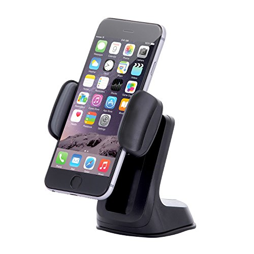 Dash Crab Duet - Cell Phone Car Mount Holder, Multiple Viewing Angles with Height Adjustable Smart Grip, Dashboard Windshield Mount for iPhone 5s 6s Plus Galaxy S7 S6 Edge Note 5 4 -Retail Pack(Black)