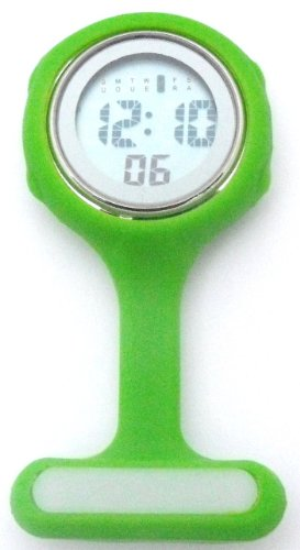 Green Digital Unisex Multi Function Silicone Nurses/Brooch/Tunic/Fob/Pocket/Carabiner Watch