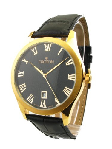 MENS CROTON LEATHER DATE WATCH CN307109BSYL