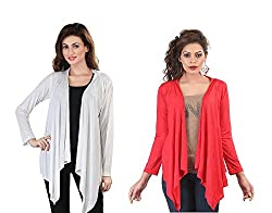 Trendy combo of Red & White Viscorse Long Shrugs by Bfly