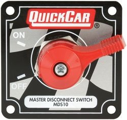 "QuickCar Racing Products 55-012 Red 2-1/2"" High x 2-1/2"" Wide Handle Battery Master Disconnect Switch with Alternator Post and Mounting Panel"