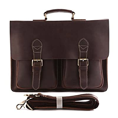 "Bags World YAAGLE High Quality Handmade shoulder bags 100% Crazy horse HANDMADE Leather Men's Briefcase Handbag Messenger Bag Laptop Bag Cowboy,15.5""(39cm) L x 3""(7.6cm) D x 11.5""(29cm) H,Dark coffee"