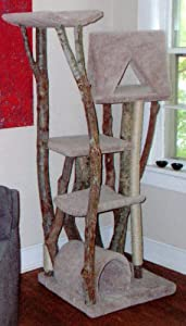 Treetop Tower 4 Level Rustic Cat Tree : Color GREEN : Leg Covering NO SISAL ROPE : Size 2 CRADLES, 1 DOME, 1 AFRAME, 1 FLAT