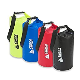 SWAGA Sports 10 L Dry Sack Waterproof Sports Bag - BLACK, BLUE, RED and YELLOW - 4 Pack