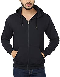 Weardo Men's Fleece Sweatshirt (WZipBlueHood_Navy Blue_Medium)