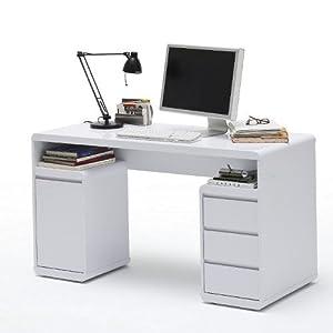 DANILO Design Schreibtisch, Computertisch, weiß Hochglanz