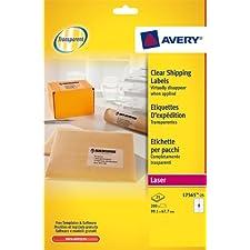 Avery - L7565-25 - 200 étiquettes d'expédition transparentes adhésives personnalisables. 99,1x67,7mm. Impression laser
