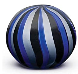 Dynasty Gallery Art Glass Blue Circus Stripes Paperweight