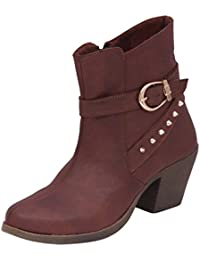 Swagg Women's Brown Color Leather Boots