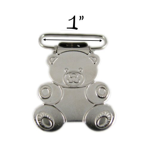 100 - 1 Inch Teddy Bear Metal Suspender Clips - w/ Rectangle Inserts