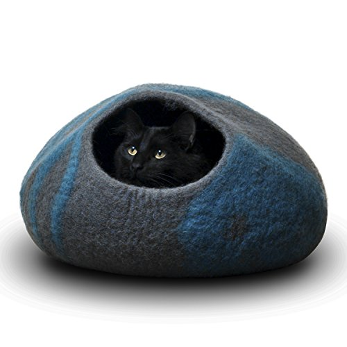 CatGeeks Premium Felt Cat Cave (Large) - All-Natural 100% Merino Wool - Handmade Indoor Cat House - Soft, Comfortable Cat Bed - Ideal for Kittens & Large Cats, Grey/Aquamarine
