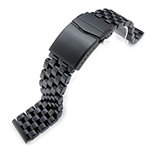 21.5mm Super Engineer I 316L SS Watch Bracelet for Seiko Tuna, V-Clasp PVD Black