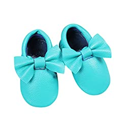 Bow Leather Baby Moccasins for Boy Girl Infant Toddler Pre-walker Crib Shoe (L (5.9 inches), Turquoise)