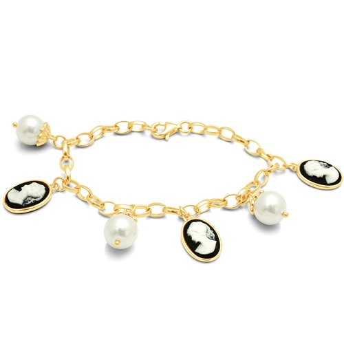 14k Gold Over Silver Black Cameo Bracelet