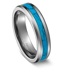 buy King Will 6Mm Tungsten Carbide Ring Silver Blue Turquoise Inlay High Polish Beveled Edge Wedding Band(13)