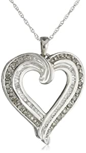 """Sterling Silver 1/2 cttw Diamond Heart Pendant Necklace, 18"""""""