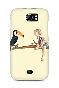 Amez designer printed 3d premium high quality back case cover for Micromax Canvas 2 A110 (Riley and his toucan)