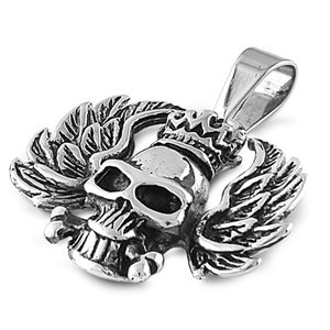24MM LARGE STAINLESS STEEL SILVER EVIL GOTHIC CHOPPER CROSS, SKULL & BONES MOTORCYCLE PENDANT