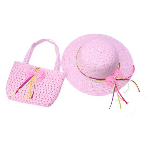 ACVIP Bimba e Bambina Cappello da Sole e Borsetta in Paglia con Decorativo Fiocco (rosa chiara)