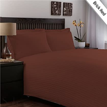600TC TWIN XXL SHEET SET EGYPTIAN COTTON 18 INCHES DEEP POCKET ,BRICK RED STRIPE sale off 2015